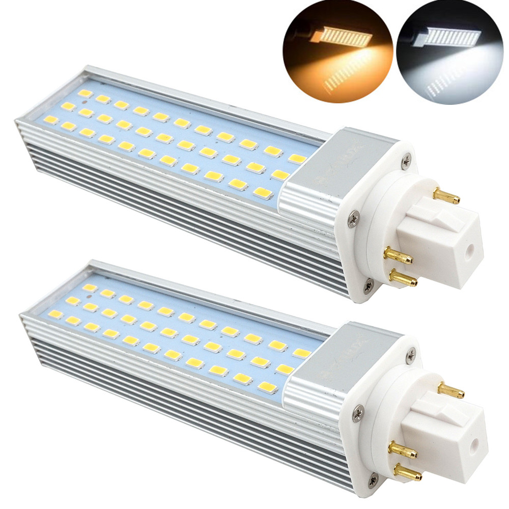 2-Pack 13W GX24 Rotatable LED PLC Lamp G24Q/GX24Q 4-pin Base 26W CFL/Compact Fluorescent Replacement Remove/Bypass Ballast
