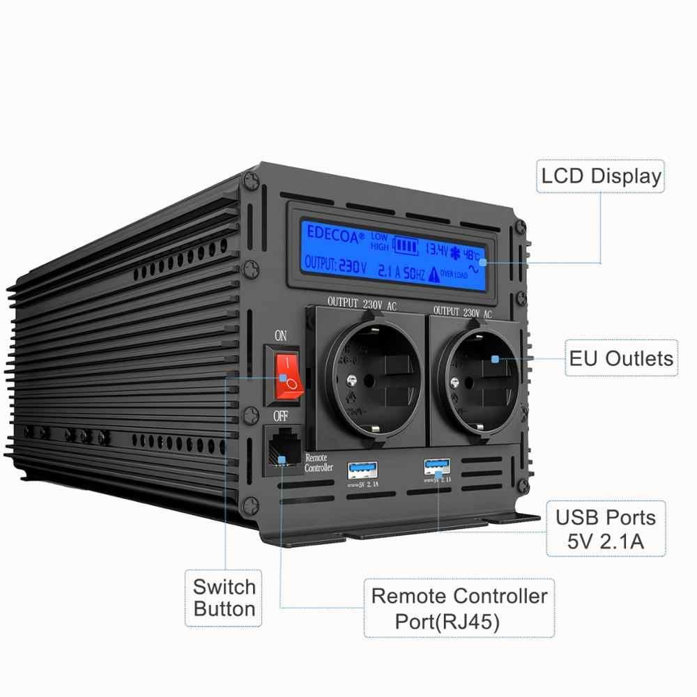 EDECOA czysta fala sinusoidalna przetwornica napięcia DC 12V do AC 220V 1500W szczyt 3000W z 5V 2.1A USB pilot LCD wyświetlacz