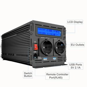 Image 2 - EDECOA pure sine wave power inverter DC 12V to AC 220V 1500W peak 3000W with 5V 2.1A USB remote control LCD display