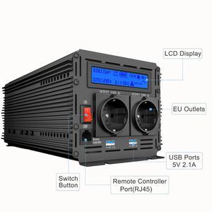 Image 2 - EDECOA sinusoidale pura potenza inverter onda DC 12V a AC 220V 1500W di picco 3000W con 5V 2.1A USB display LCD del telecomando