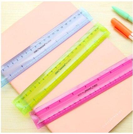 Deli 6208 Color Students Stationery Cute Creative Ruler Measuring Tape Bendable 20CM Ruler Universal Ruler