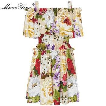 MoaaYina Fashion Designer Runway dress Summer Women Floral-Print Off shoulder Holiday Elegant Cotton Dresses off shoulder random floral print dress in pink