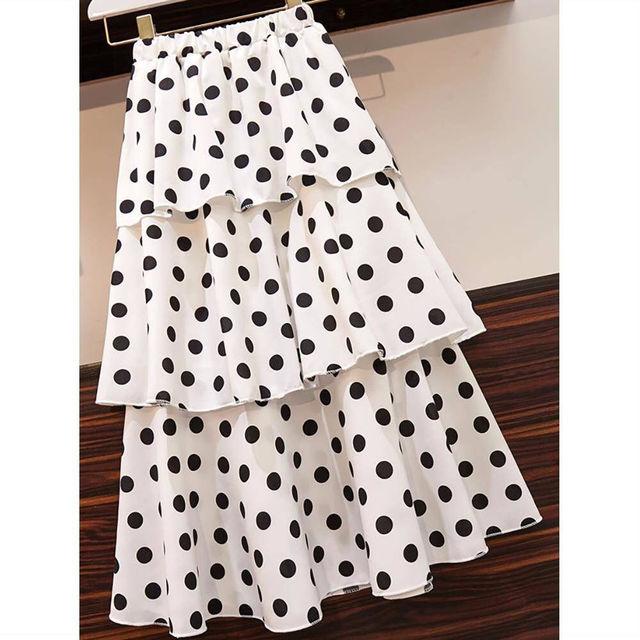 Summer Big Size Slim T-shirt Skirts Set for Women 2021 New Girl Student Sweet Print Polka Dot Dress Fashion Ribbon Bow-knot Tops 6