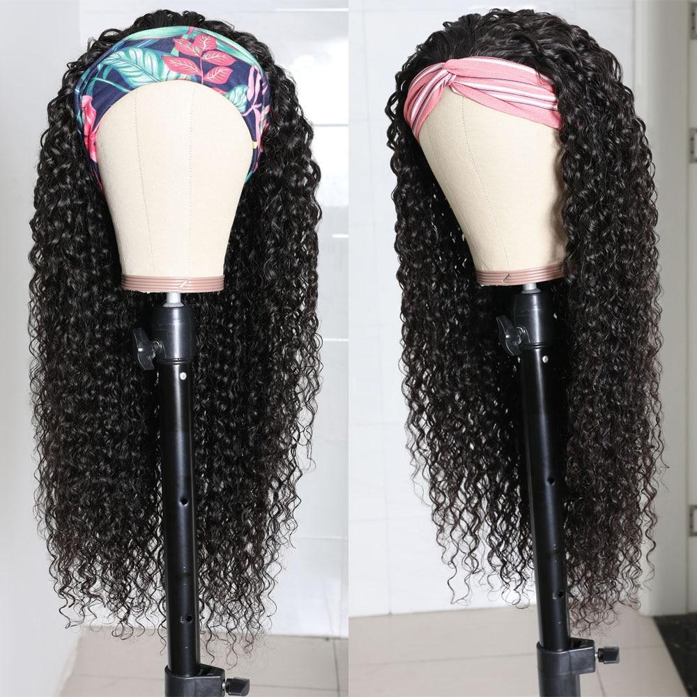 Julia Malaysian Curly Headband Wig Human Hair 14-26 Virgin Hair Scarf Wig Easy to Install Jerry Curl Hair Wig with Headband (5)