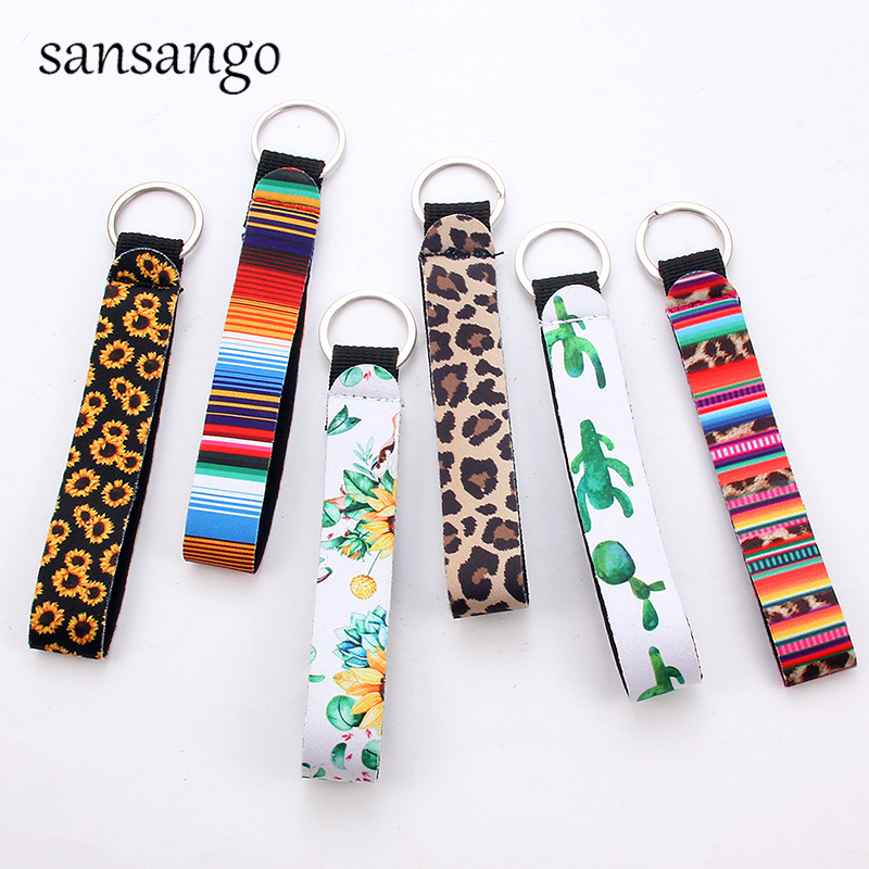 Keychain Women Stripe Leopard Plant Key Chains Wallet Bag Holder Car Keyring Accessories Multicolor Jewelry Gifts For Men Girls