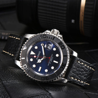 Casual Parnis 40MM Blue Dial Automatic Mechanical Men's Watch Diver Miyota 8215 Men Watches Sapphire Leather Band Man Clock 2019