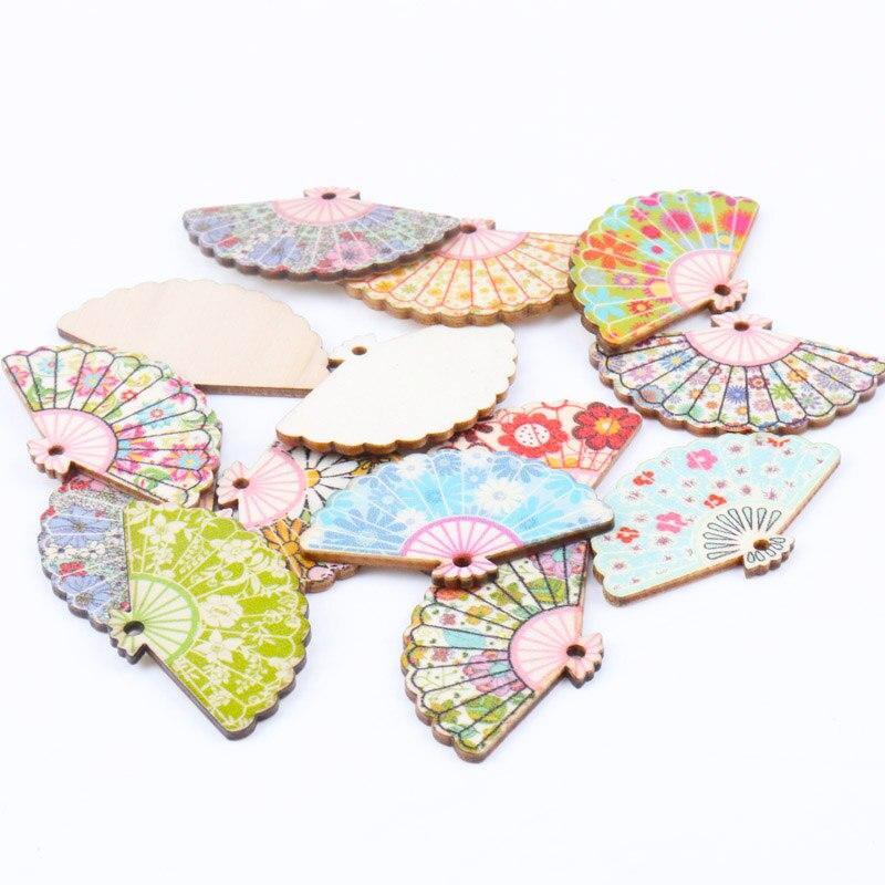 Natural Wood Fan Pattern Wooden Scrapbooking Craft For Embellishments Handmade DIY Handicraft Home Decoration 30x48mm 10pcs