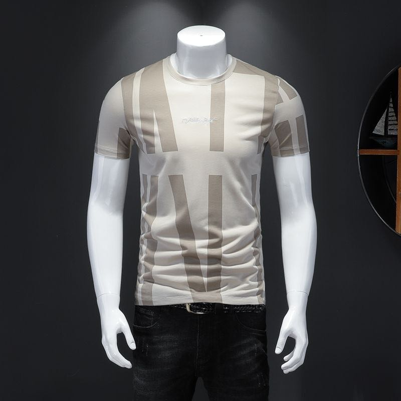 2020Summer New Men's Short-sleeved T-shirt Pure Cotton Round Collar Trim Personality Shirt Male