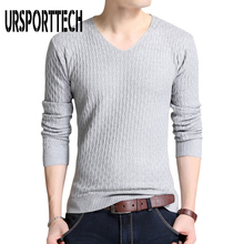 2019 New High Quality Autumn Winter Sweater Men Solid Color Casual V-Neck Pullover Men Cotton Knitted Mens Sweaters Pull Homme