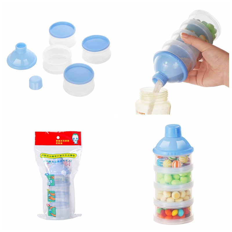 2019 Portable Baby Infant Feeding Milk Powder & Food Bottle Container 3 Practical Hight Capacity Transparent BPA Free Y