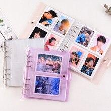 Álbum de fotos portátil da geléia do brilho do álbum de fotos do pvc para mini instax & cartão de nome kpop estrelas