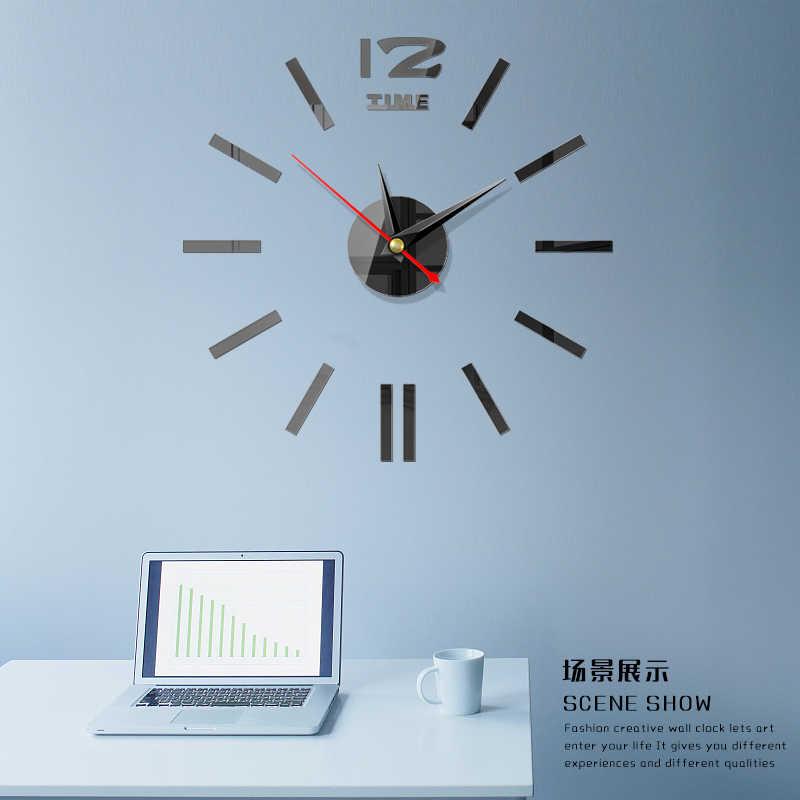 Espelho acrílico adesivos de parede relógio 3d diy criativo sala estar quartzo agulha horloge decoração da sua casa wallclock