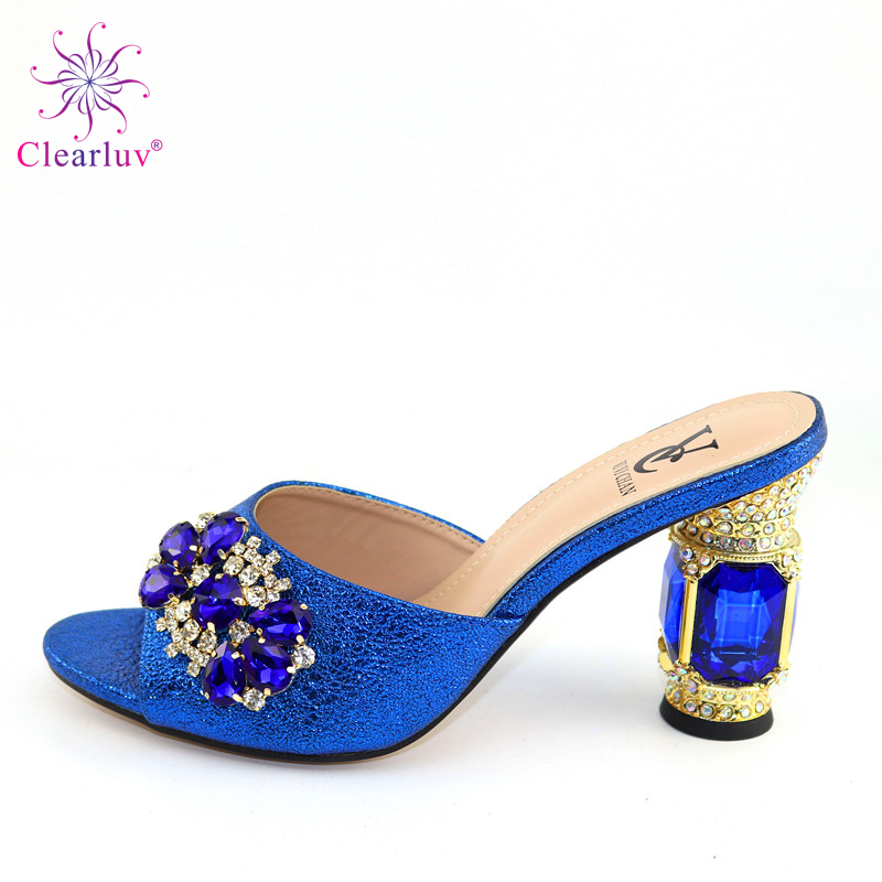2020 Blue Heels Women Wedding Shoes Decorated With Rhinestone High Quality Nigerian Party Pumps High Heels
