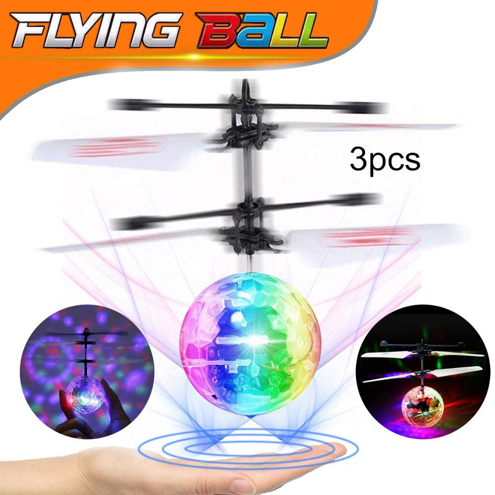 LED UFO Drone Flying Ball Helicopter Fly Toys,Color Infrared Induction Drone RC Flying Ball Hand Control Electric Kids Toys Gift