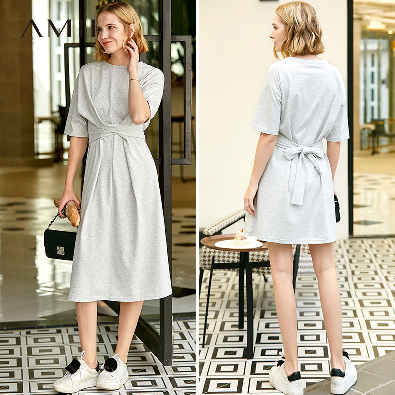 Женское платье в минималистическом стиле Amii, повседневное однотонное хлопковое элегантное платье с коротким рукавом и круглым вырезом на ш...