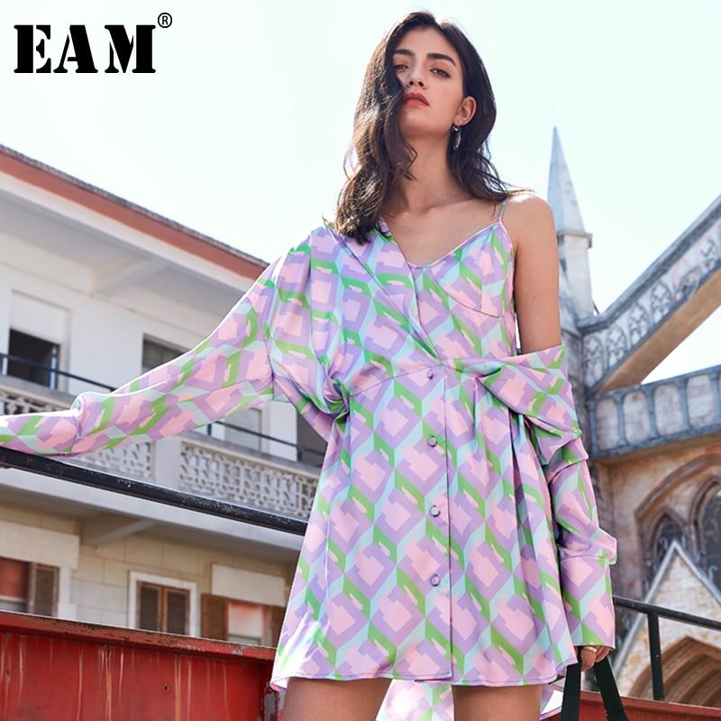 [EAM] Women Purple Pattern Printed Split Big Size Shirt Dress New Lapel Long Sleeve Loose Fit Fashion Spring Summer 2020 1U689