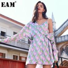 [EAM] Women Purple Pattern Printed Split Big Size Shirt Dress New Lapel Long Sle