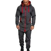 2020 Mens Pure Color Splicing Jumpsuit Men One-piece Garment Pajama Playsuit Zipper Hoodie Male Onesie Jumpsuits Overalls Hombre
