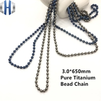 3.0*650mm Pure Titanium Bead Chain Metal Wave DIY Accessories Sweater Chain Does Not Rust Light Hypoallergenic EDC Bead Chain