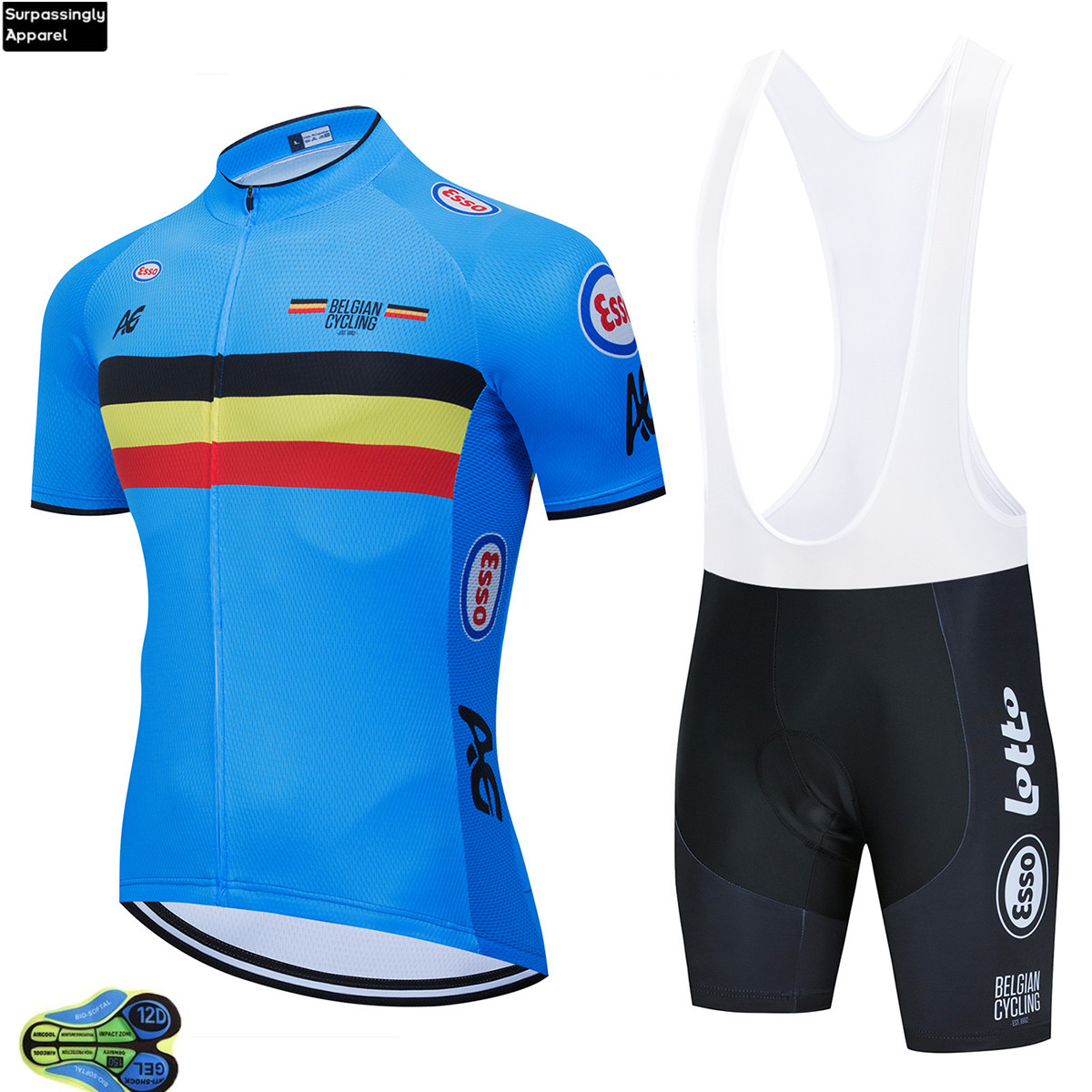 2020 Belgian National Team Cycling Clothing Bike Jersey Quick Dry Mens Bicycle Clothes Pro Cycling Jerseys 12D Bike Shorts Set|Cycling Sets| |  - title=