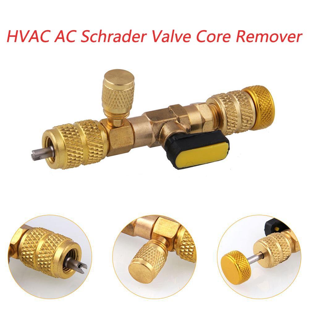 """1 x HVAC AC Núcleo Da Válvula Schrader Removedor Dupla Tamanho 1/4 """"e 5/16"""" Porta Installer Ferramenta de reparo Do Carro kit de ferramentas"""