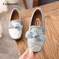 Модные кожаные туфли с блестками для девочек; детские туфли принцессы в горошек; нескользящие тонкие туфли с мягкой подошвой и бантом для де...