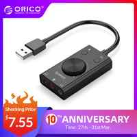 ORICO External USB Sound Card Stereo USB Sound Card Mic Speaker Audio Jack 3.5mm Cable Adapter for PC Laptop Free Drive