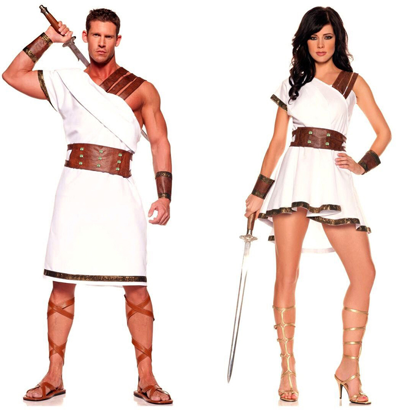 Ancient Egypt Costume Adult Women Men Carnival Halloween Party Fancy Dress Clothes Roman Solider Cosplay Outfit