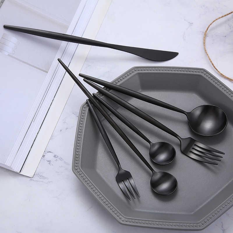 Matte สีดำชุดช้อนส้อมสแตนเลส Flatware ชุดครัวเครื่องเงินสเต็กอาหารเย็นช้อนส้อมมีดตะเกียบ