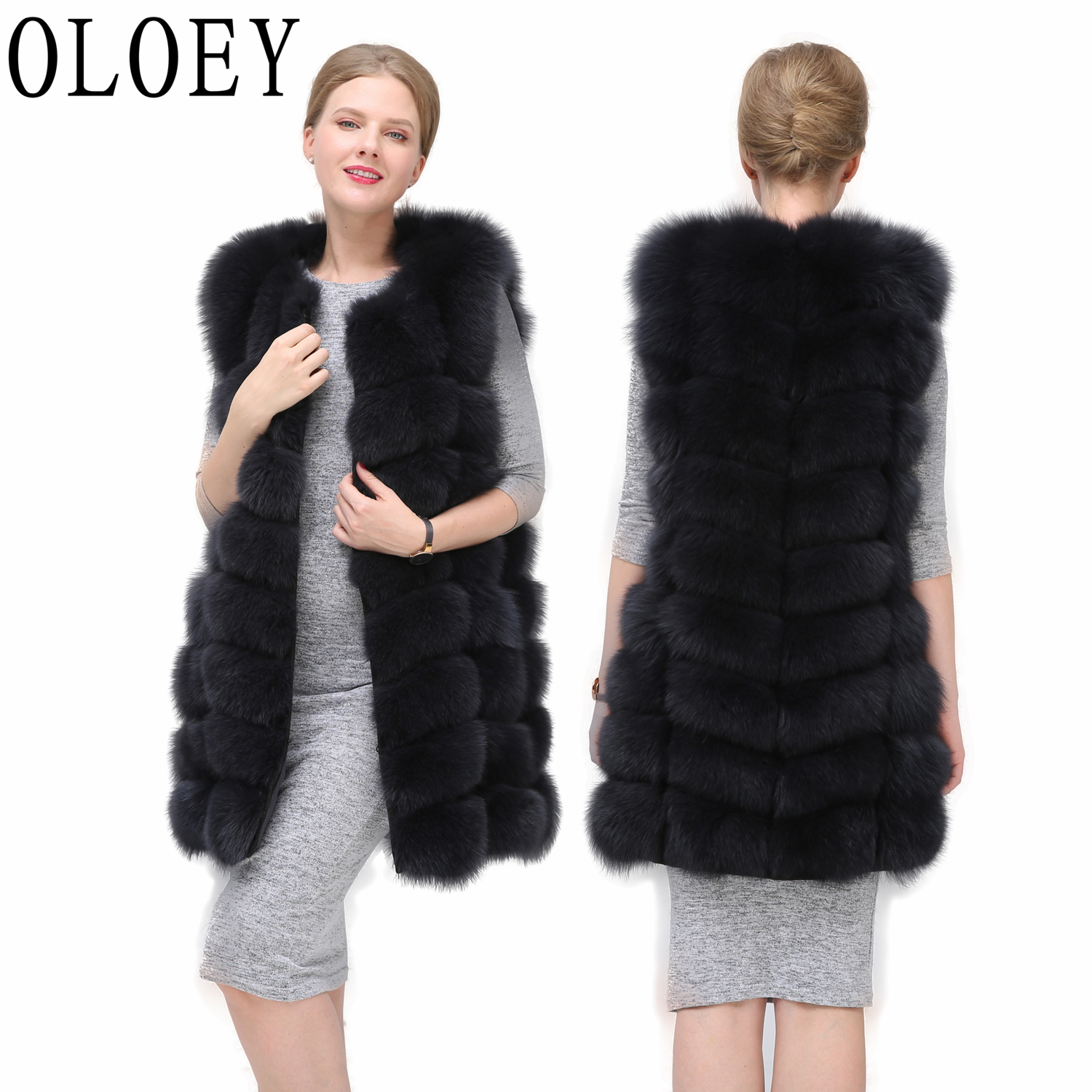 2019 New  Real Fox Fur Vest  Jacket  Natural Fox Fur Coat High Quality Winter Fashion Warm Sleeveless Jacket For Women