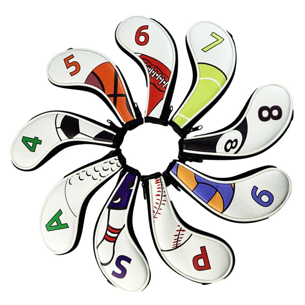 9 Pieces Zipper Golf Head Covers Club Iron Putter Headcovers Set For Men Women Golfer Gift