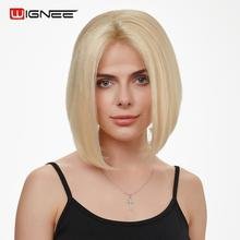 Wignee Remy Brazilian Short Bob Lace Wigs Blonde 613 Straight Hair Middle Part Front Human For Black/White Women