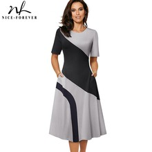 Nice-forever Spring Retro Contrast Color Patchwork A-line Dresses Business Work Flare Swing Women Dress A239