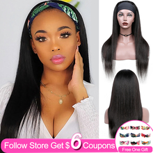 30 Inch Headband Wig Human Hair Wigs  For Black Women Straight Brazilian Machine Made Remy Natural Color Wigs 130% Density