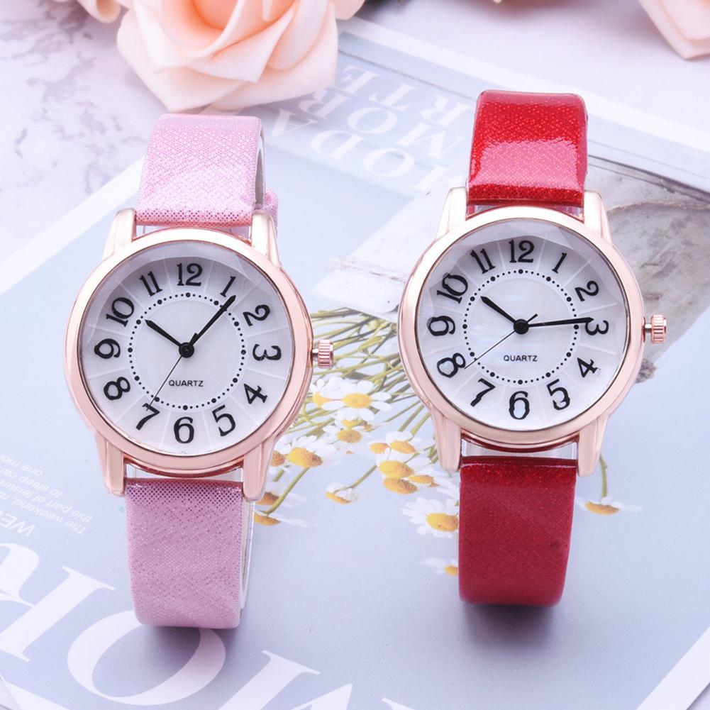 Fashion Women Paillette Quartz Analog Arabic Numbers Round Dial Wrist Watch