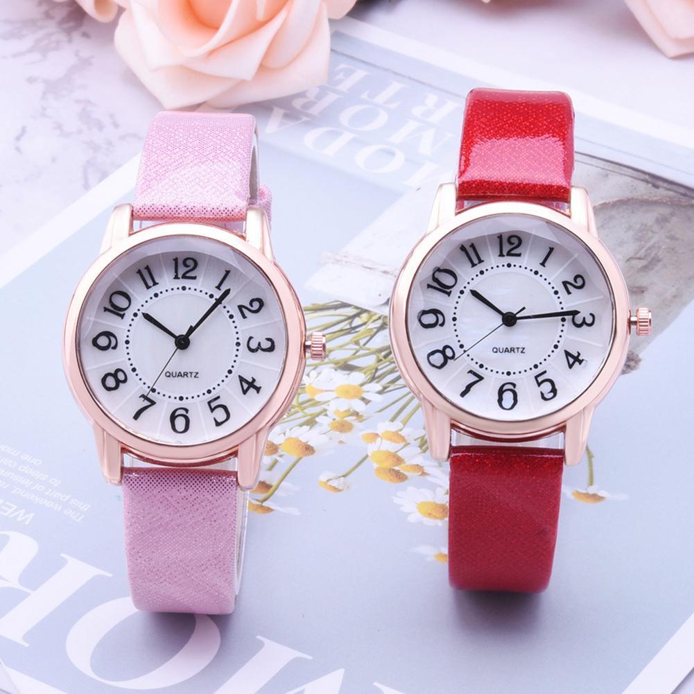 Fashion Women Paillette Quartz Analog Arabic Numbers Round Dial Wrist Watch