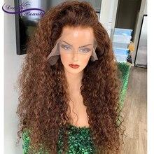 180% kahverengi renk kıvırcık saç 13X6 dantel ön saç peruk bebek saç ile 8 24 inç ön koparıp brezilyalı kıvırcık remy saç rüya güzellik