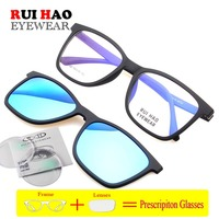 Rectangular Prescription Eyeglasses Retro Design Glasses Frame Clip on Sunglasses Resin Lenses Customize Optical Lenses 2122