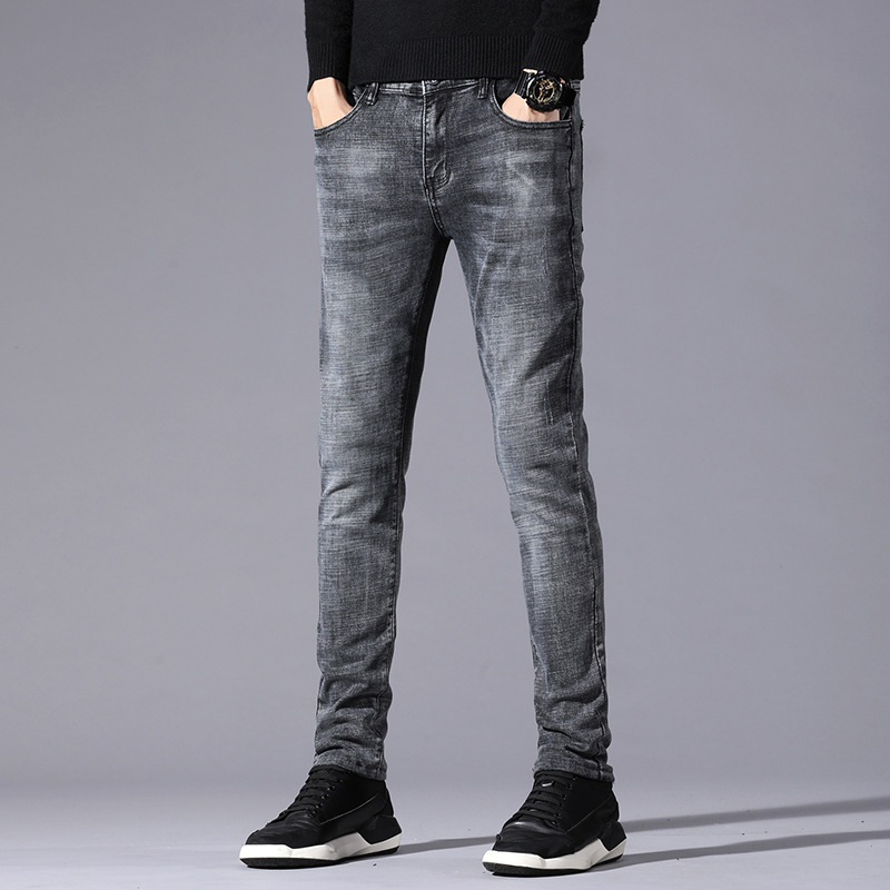 Autumn And Winter New Style Casual Cattle Cotton Elastic Straight Slim Jeans Men's Skinny Straight-Cut MEN'S Trousers H3011