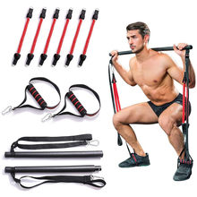 Spier Spanning Bar Met Weerstand Bands Rubber Loops Trainer Body Workout Fitness Apparatuur Thuis Gym Pull Touw Stok Dropship(China)