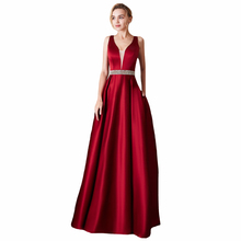 Deep V-neck Sleeveless Wedding Party Formal Ladies Dresses Backless Sexy