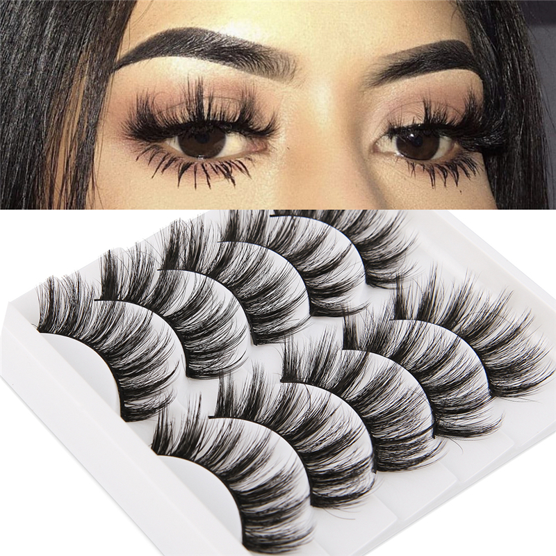 5 Pairs 3D Faux Mink Hair Soft False Eyelashes Fluffy Wispy Long Thick Lashes Handmade Soft Eye Lash Makeup Extension Tools