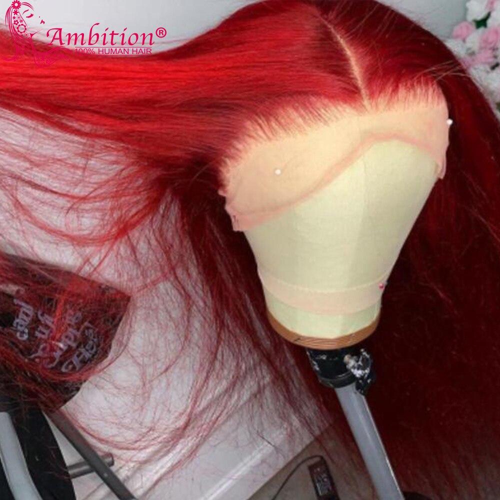 Ambição perucas brasileiras vermelhas do cabelo humano pré arrancadas 13x4 perucas da parte dianteira do laço para as mulheres 180% densidade glueless perucas do laço descorados nós