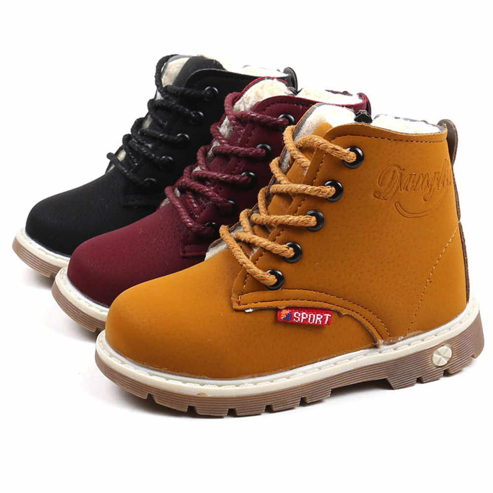 Children Warm Boys Girls Sneaker Boots Kids Baby Casual Shoes Anti-slip Fashion Zip Soft Pu Leather Breathable Boot Baby