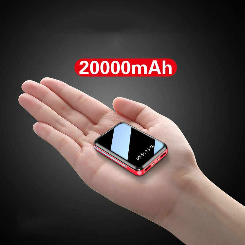 Mini güç bankası 20000mAh USB şarj taşınabilir şarj cihazı harici pil paketi için Samsung Xiaomi Iphone