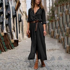 Dresses For Women Long Dress Autumn Casual Loose Work Plus Size Shirt Dresses Pocket  Button Black Street Long Sleeves Vestidos