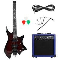 IRIN 헤드리스 일렉트릭 기타 (더블 행 픽업 스피커 포함) 오디오 케이블 핸들 렌치 일렉트릭 기타 라 악기