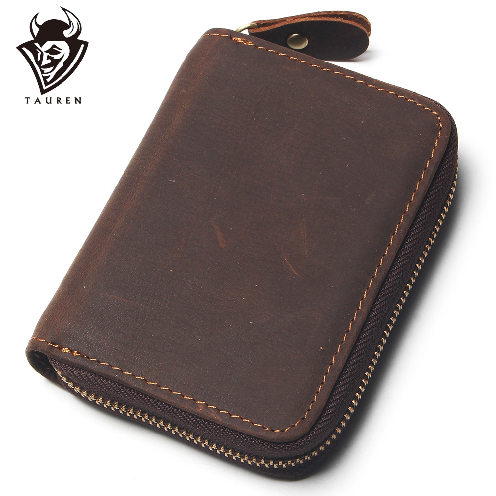 Vintage 12 Card Slots Crazy Horse Leather Card Purse Men Wallet Women ID Credit Card Zipper Mini Purse With Multi Card Slots