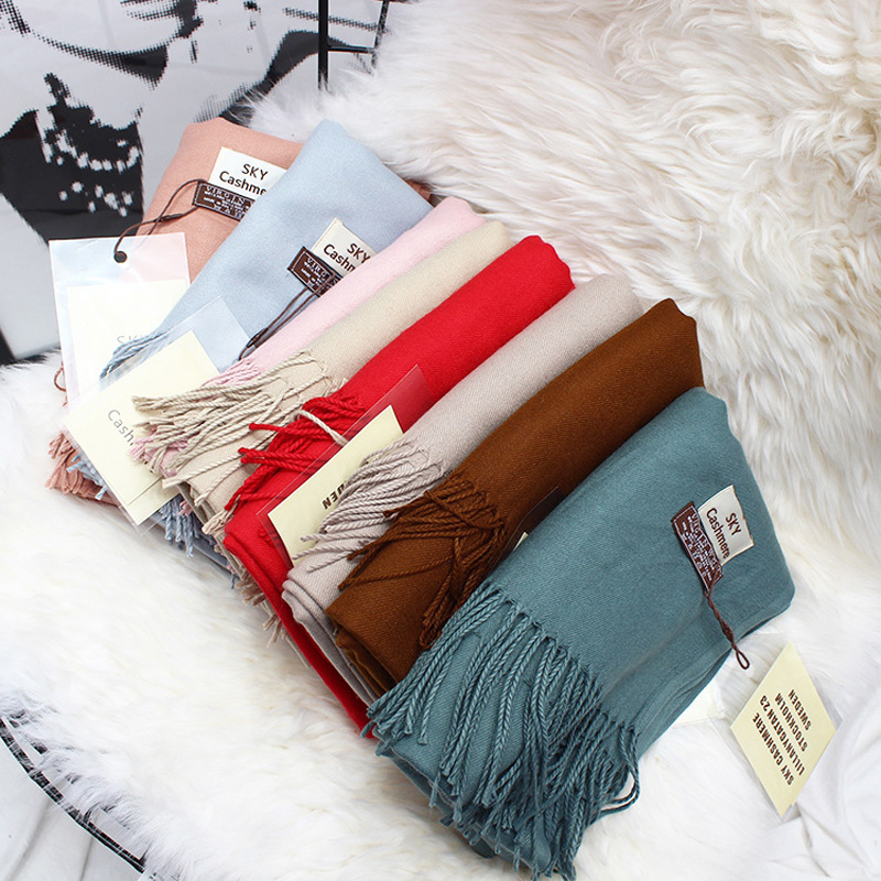 Winter Soft Warm Cashmere Scarf For Women Wool Scarves Black Men's Cashmere Scarves Female Shawl Red Pashmina