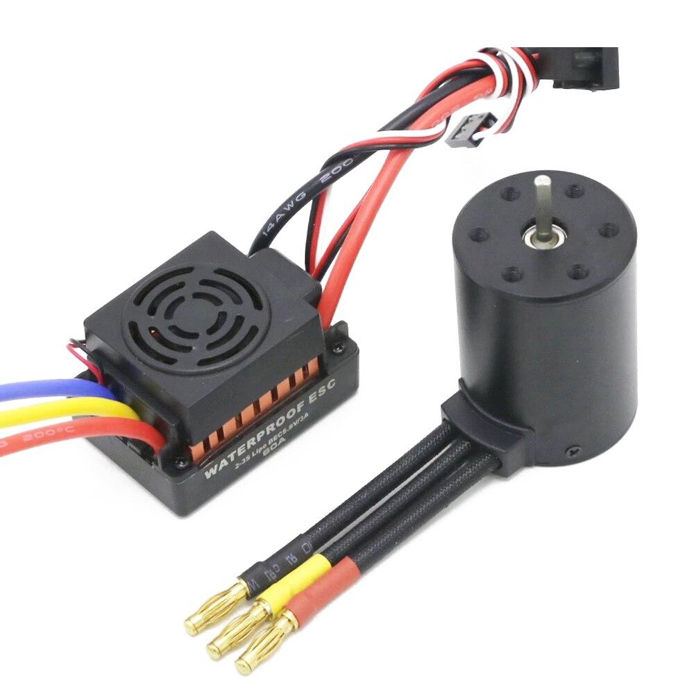 Rc Wasserdicht 3650 3900KV RC Bürstenlosen Motor & 60A ESC & Programmierer Karte für 1/10 RC Auto Lkw Motor kit